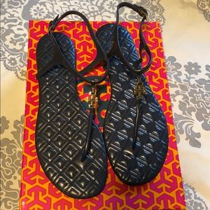 Tory Burch Marion quilted sandal navy 8